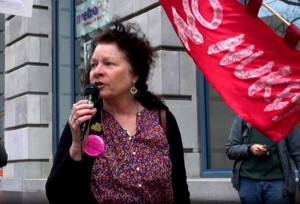 Cynthia Papermaster at PG&E HQ in San Francisco speaks out for a Rate Payer Revolt at the Fourth Anniversary of the ongoing Fukushima Nuclear Catastrophe on 3-11-15.  Screenshot from the Ustream archive at the IWJ-SF channel.