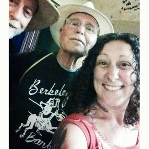 Singer-songwriter Emily Yates takes a 3 person selfie back stage at the Freight & Salvage Coffeehouse celebration of the Berkeley Barb's 50th Anniversary on 8-12-15. Emily posted it on Facebook within minutes. Modern times...